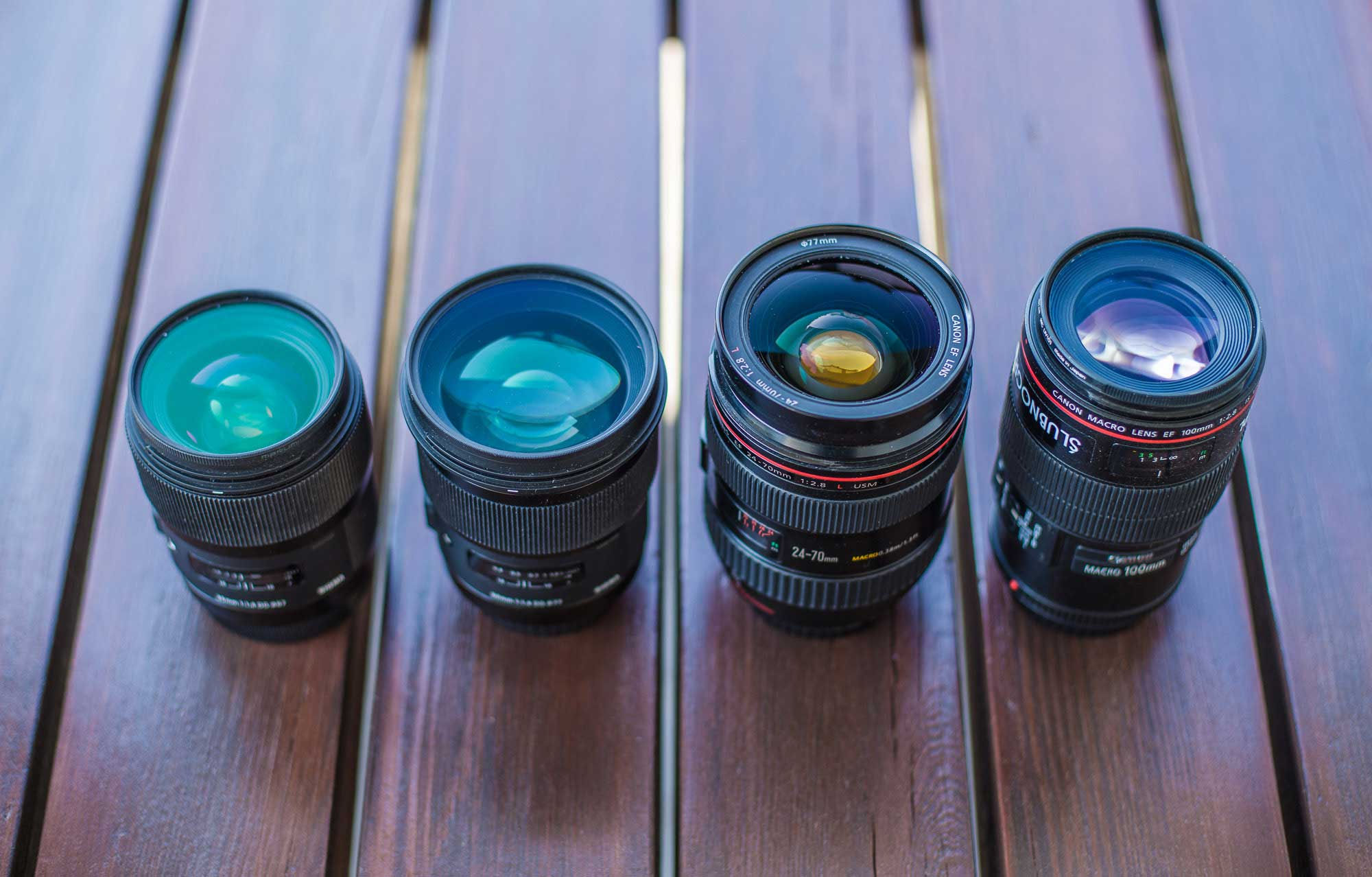 Zestaw moich obiektywów: Canon i Sigma